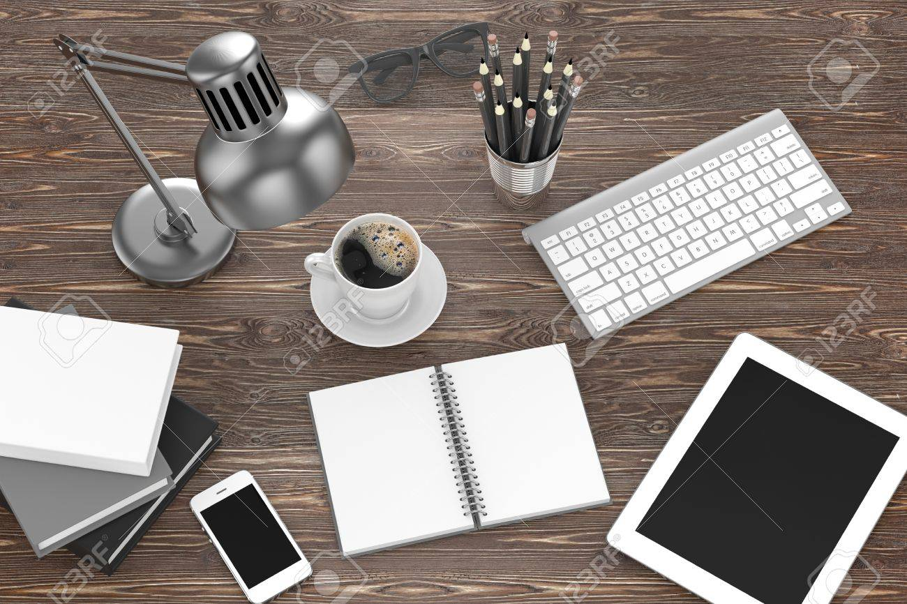 Laptop And Office Stuff, Workplace, Top View Stock Photo, Picture ...