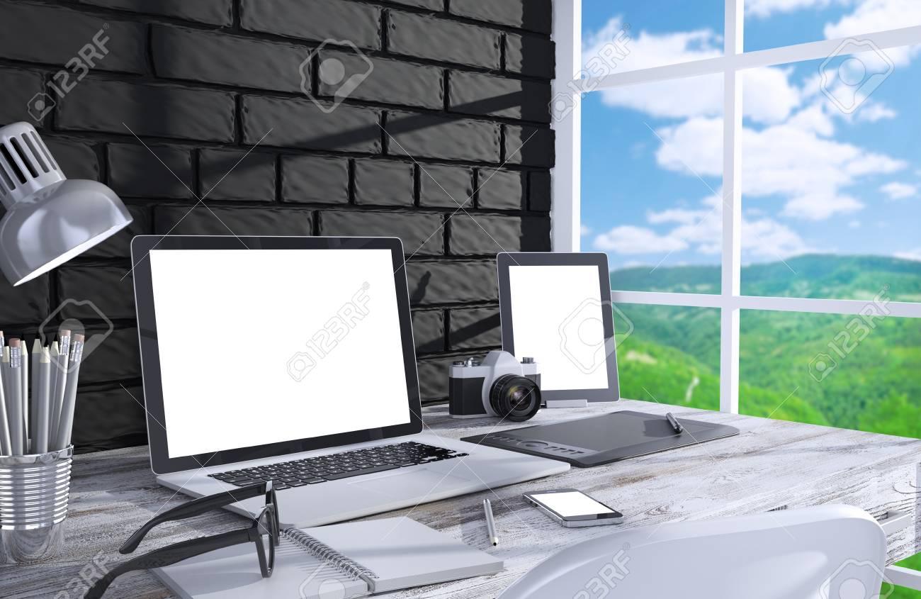 Illustration 3d écran pc sur la table dans le bureau espace de