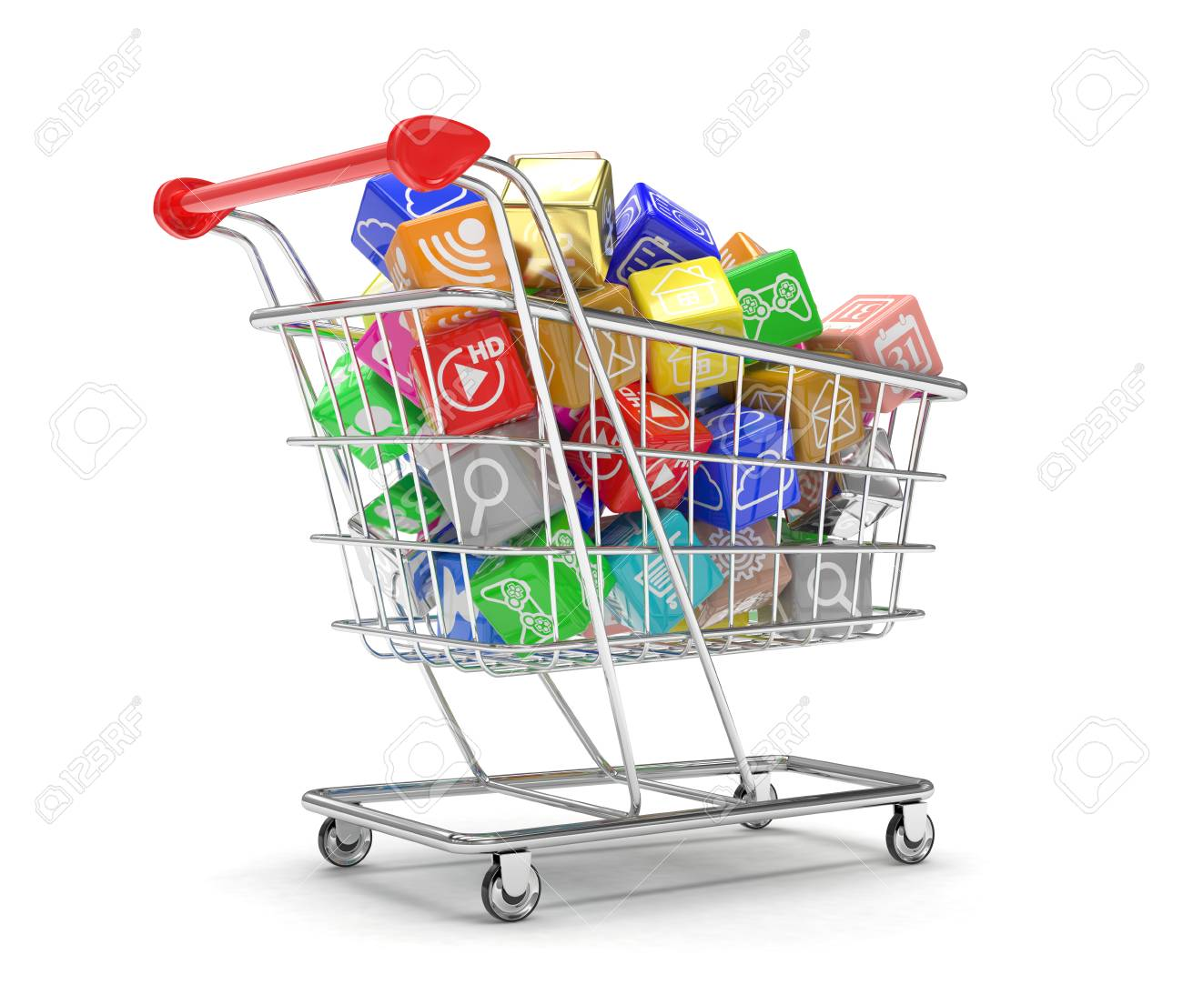 shopping cart with application software icons isolated on a white