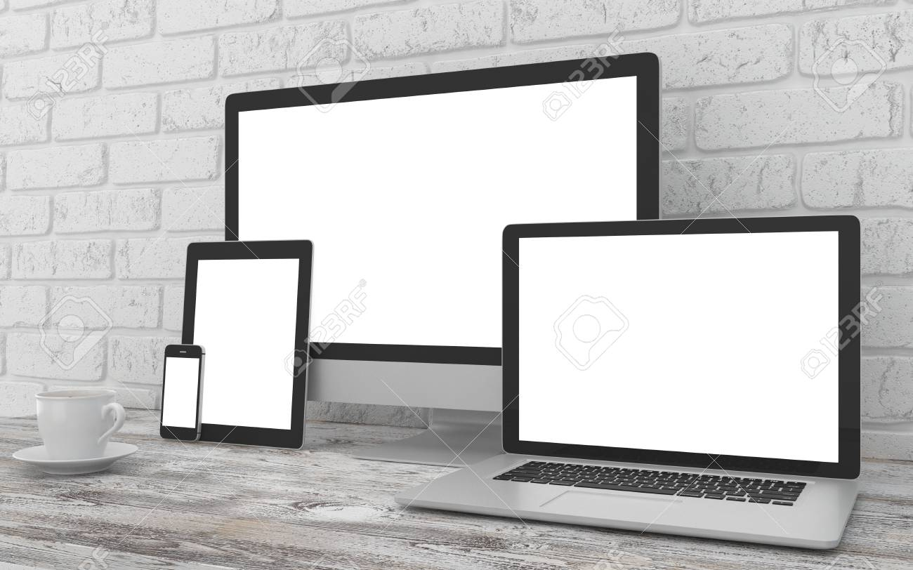 Responsive mockup screen  Monitor, laptop, tablet, phone on table