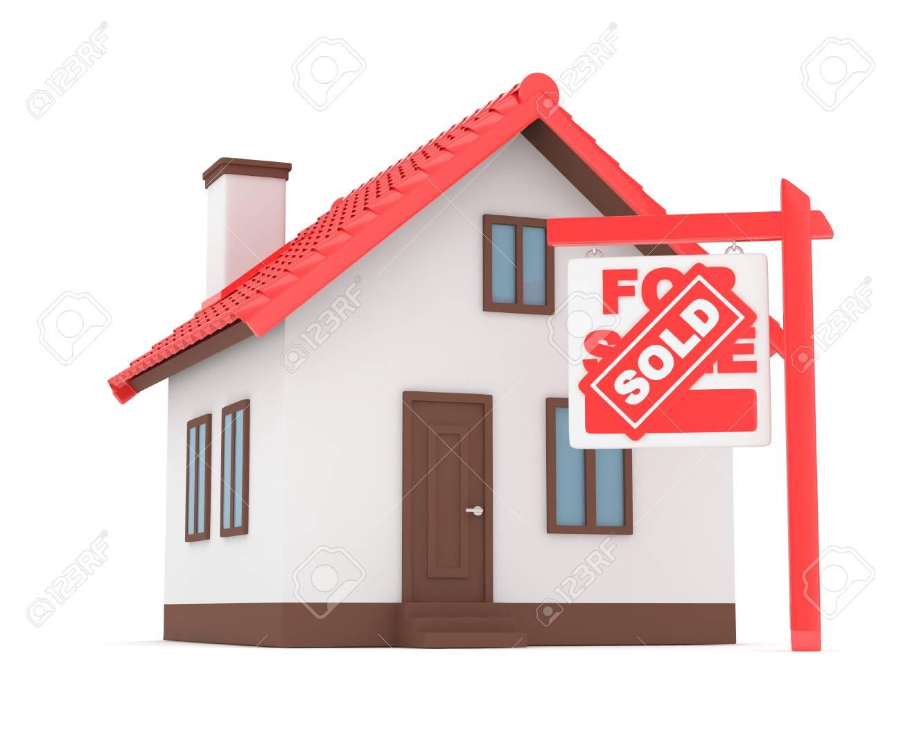 Een Nieuw Huis : Geïsoleerd model van huis met te koop verkocht teken. concept van