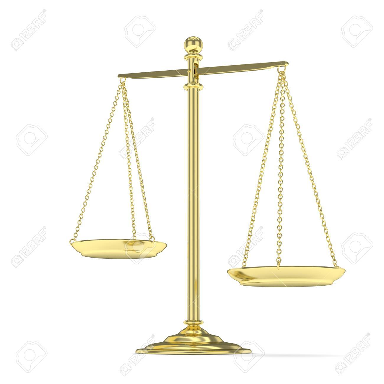 Isolated Golden Scales On White Background Symbol Of Judgement
