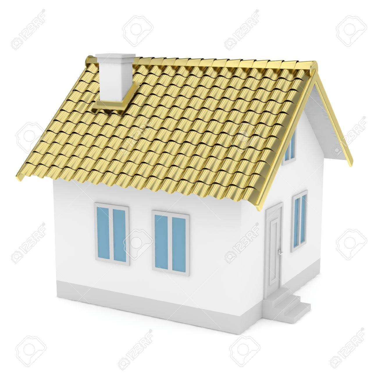 Weiß Einfaches Haus Mit Goldenen Dach Auf Weißem Hintergrund ...