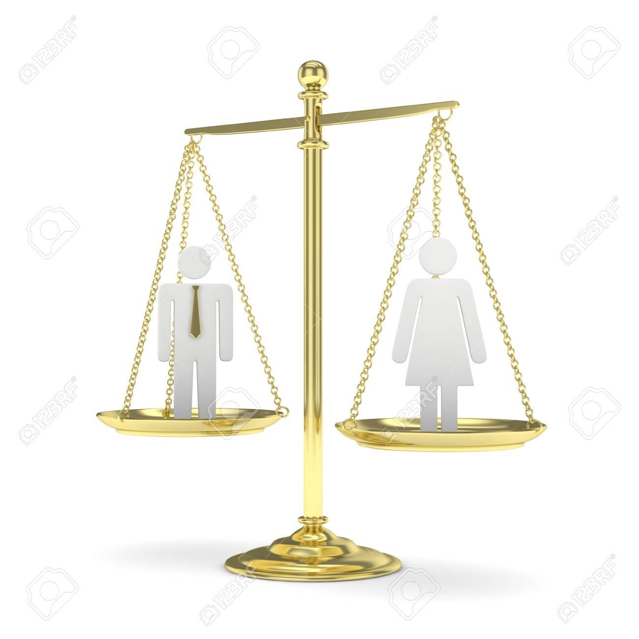 nouveau style af9dc d5524 Balance à l'ancienne démodée avec homme et femme sur fond blanc. Inégalité  des genres. Egalité des sexes. Problèmes de droit Modèle argenté. Rendu 3D