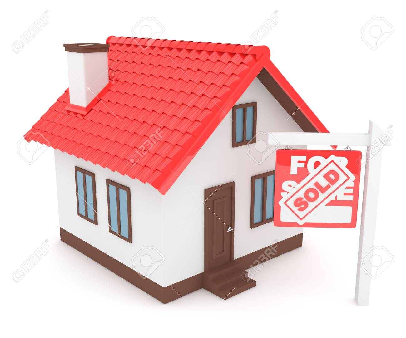 Isolated model of house with sign for sale sold  Concept of real