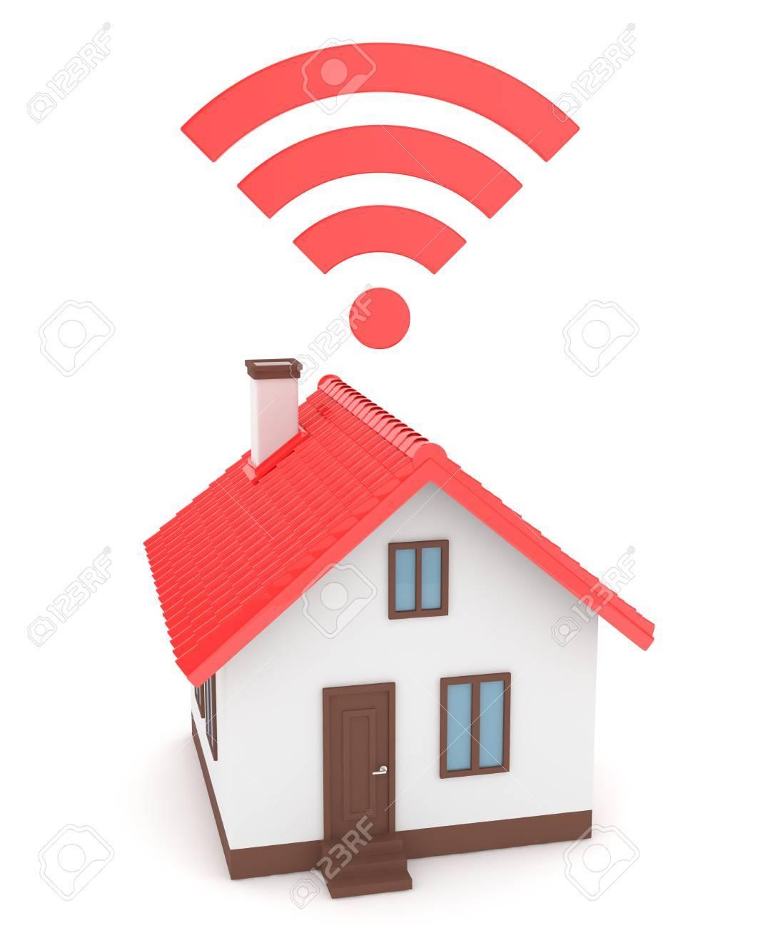 Banque d images - Maison de Wifi sur fond blanc. La technologie sans fil.  Internet, téléphone et signal radio. Réseau. rendu 3D 0f47cdf1e436