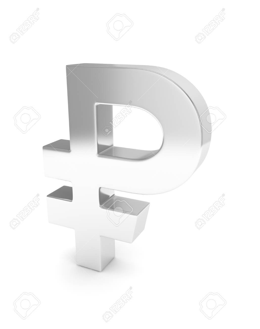 Isolated Silver Ruble Sign On White Background Russian Currency