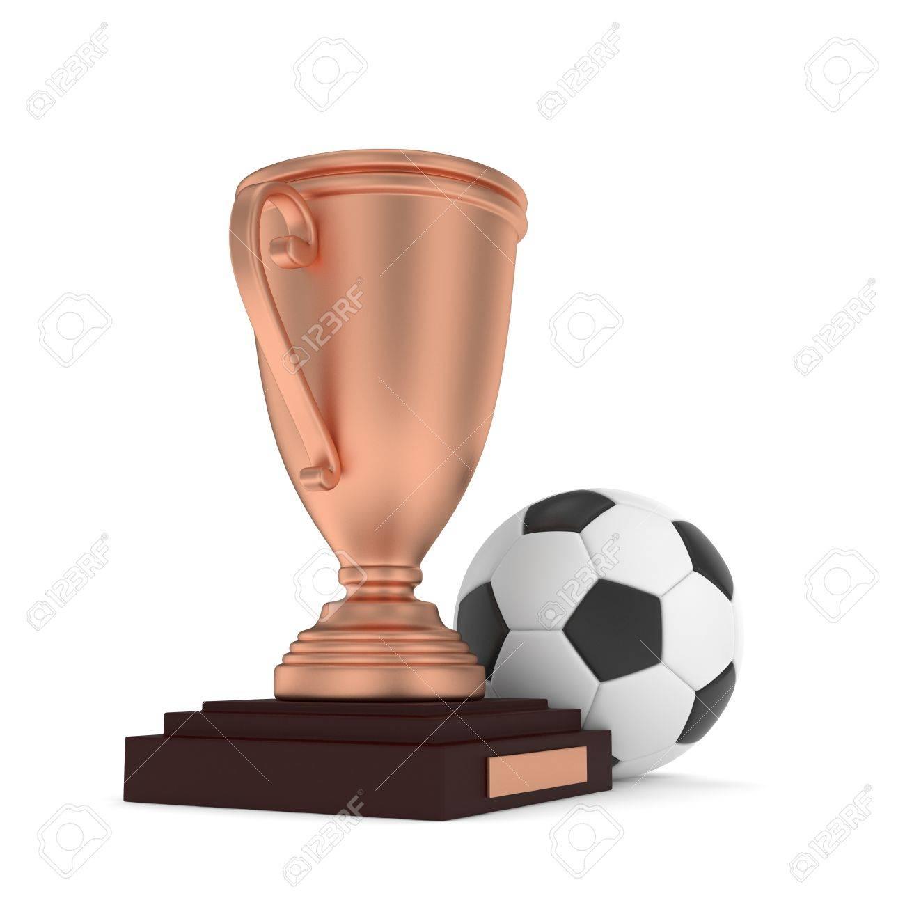 Foto de archivo - Taza de bronce aislados con la bola en el fondo blanco.  Fútbol y fútbol. En tercer lugar trofeo. Juego y la competencia.  representación 3D 11e9dc92c18cc