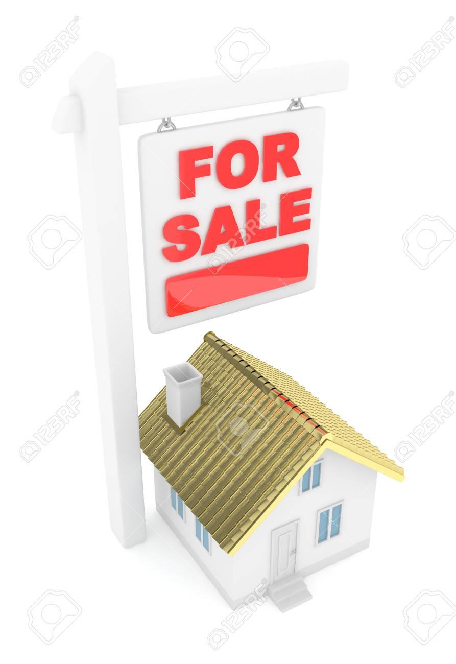 hot sale online 28adf 524e2 Lokalisiertes Modell des Hauses mit für Verkaufszeichen auf weißem  Hintergrund. Gute Investition in Immobilien.