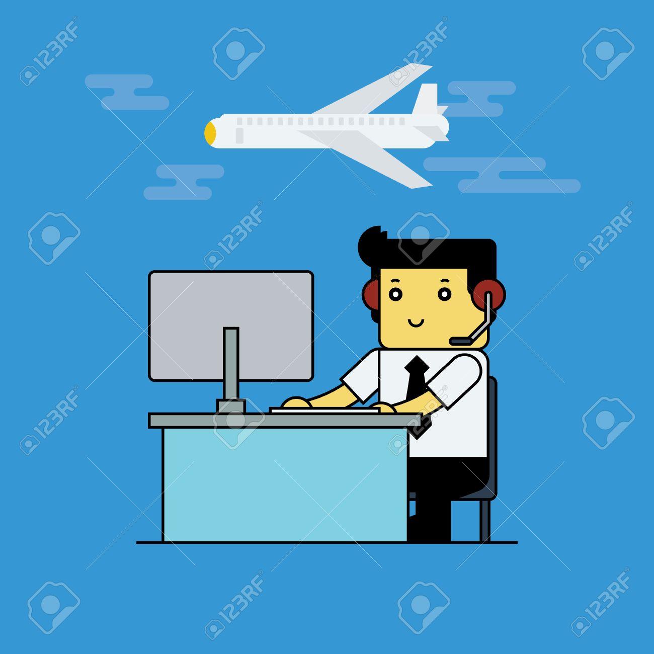 航空交通管制官、漫画ベクトル I...