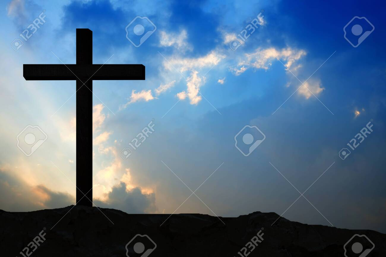 Wooden Crucifix of Jesus on The Mountain with Sunset Background for catholic and Christian Religion Concepts. - 122269629