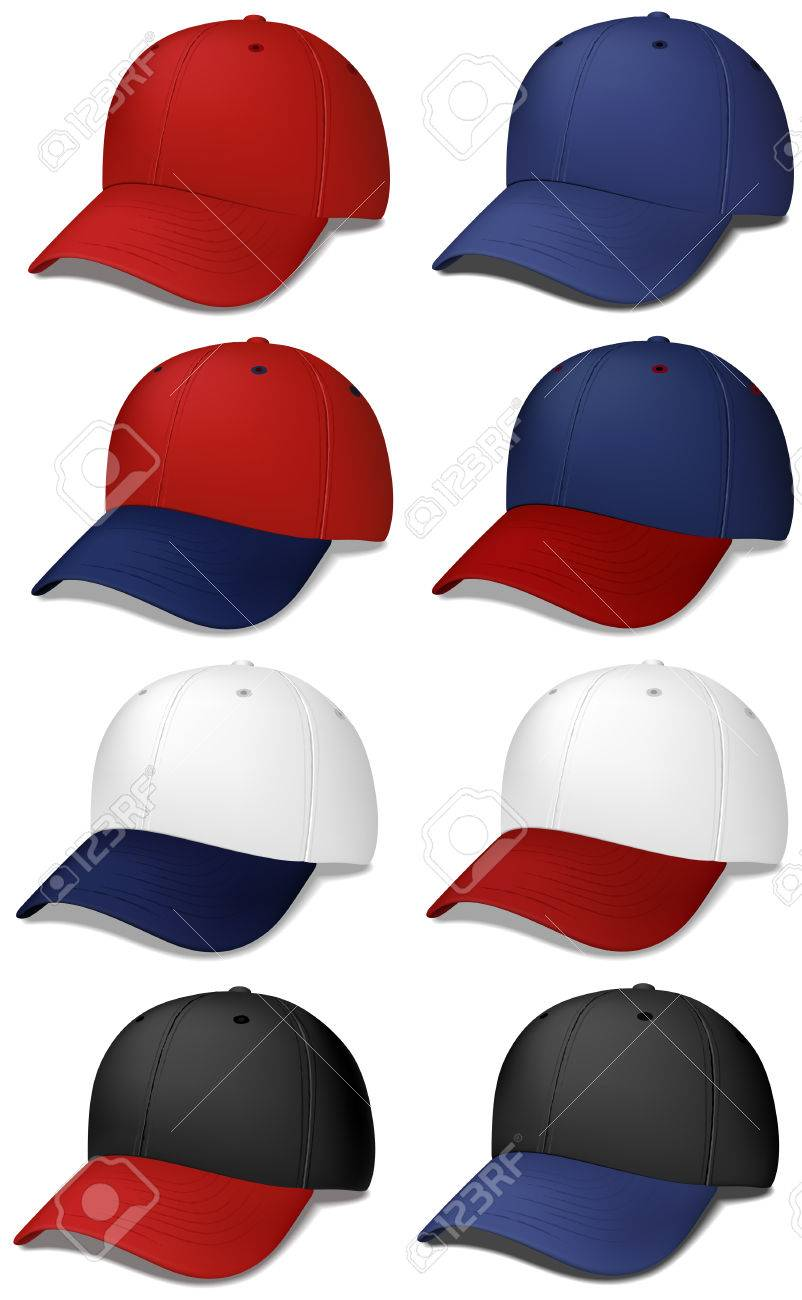 Conjunto de gorras de béisbol realista - ilustraciones de vectores Foto de  archivo - 6253179 faac3a67d85