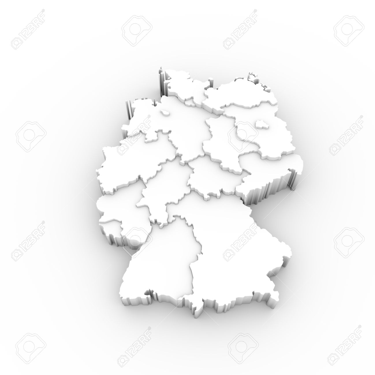 Map Of Germany 3d.Germany Map 3d White With States Stepwise And Clipping Path Stock