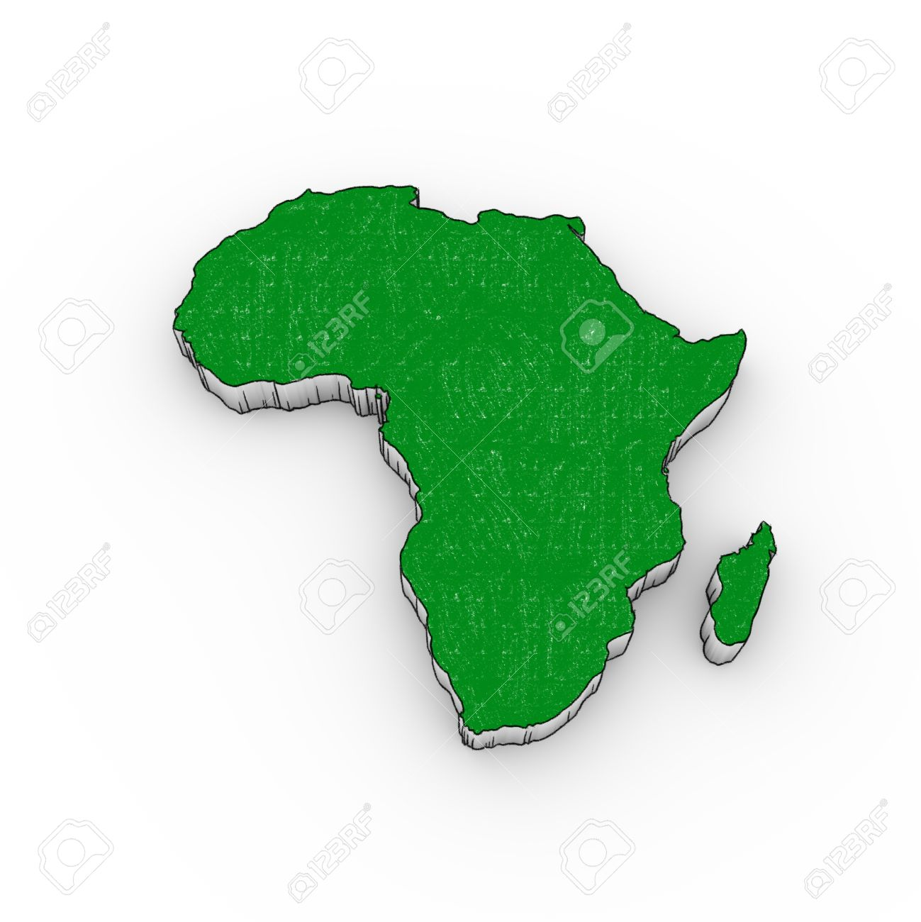 Africa Map 3d Looks Like A Drawing With Green Color Stock Photo