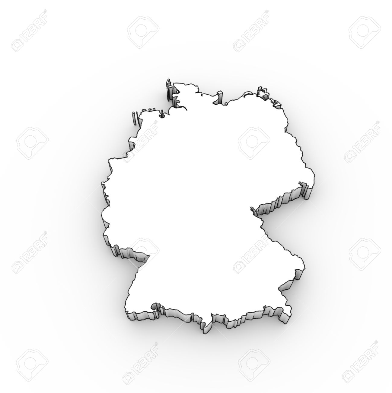 Germany map 3D in white ...