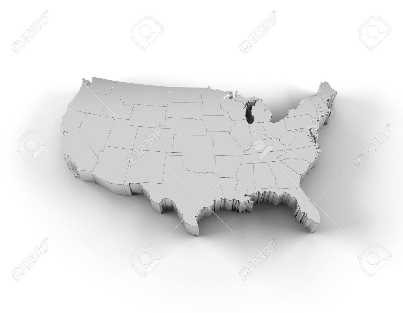 USA Map D Silver With States Stock Photo Picture And Royalty - Map of usa states