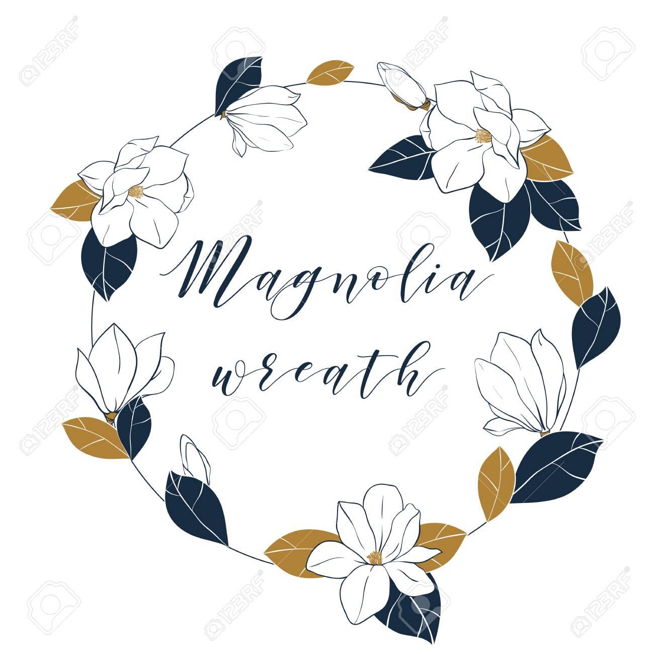 Couronne De Magnolia Graphique Dans Les Couleurs Bleu Foncé Et Bronze Main De Vecteur Dessiner Illustartion Avec Des Fleurs Des Bourgeons Et Des
