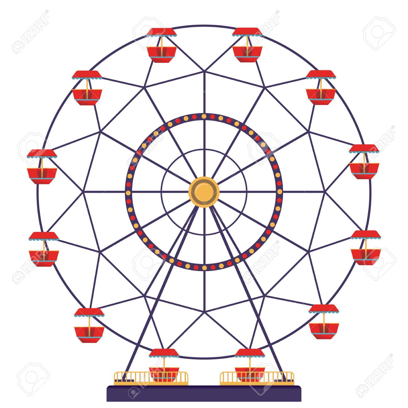 Panoramic wheel isolated on white background. Carnival icon in flat style.Vector illustration. - 128248727