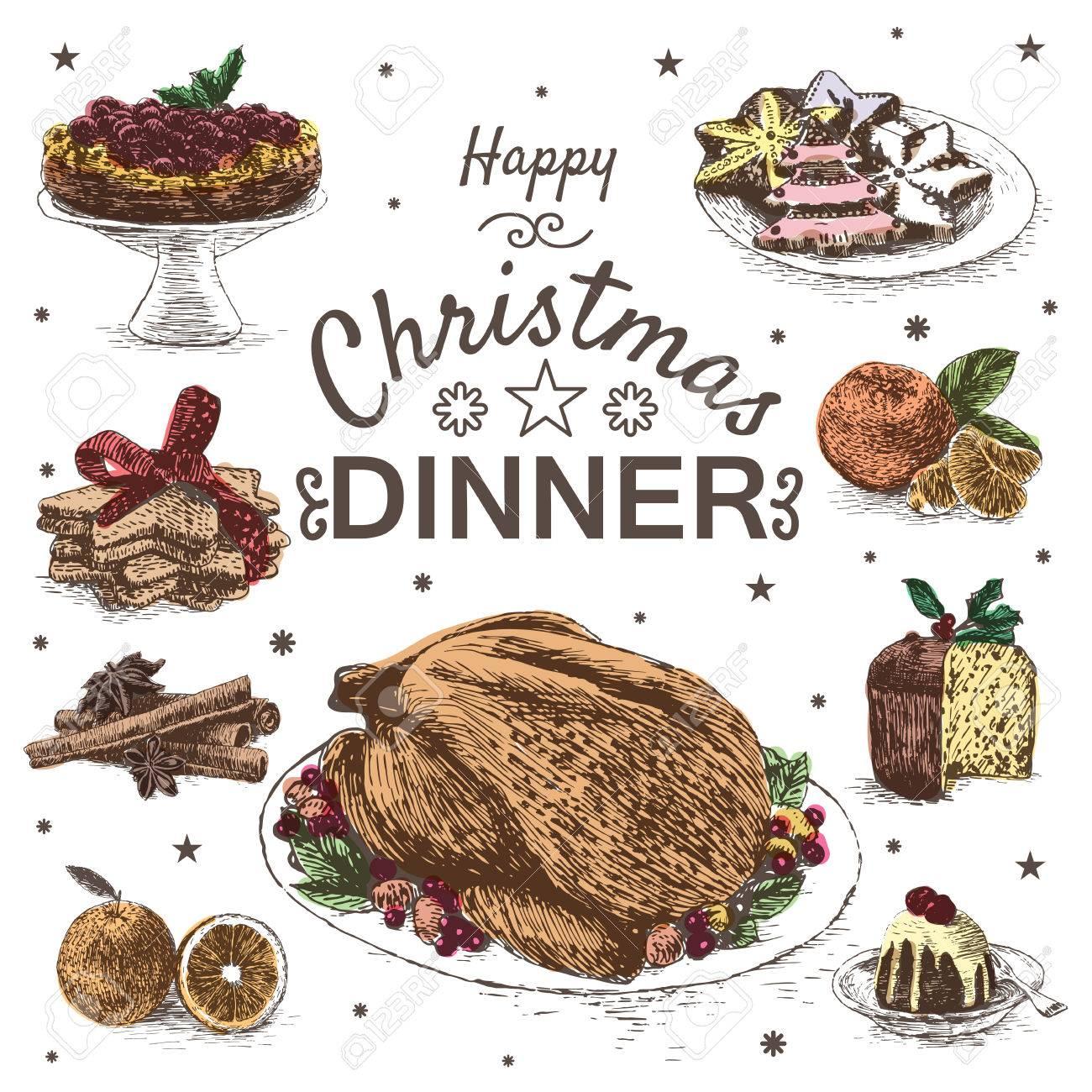 Pasti Di Natale.Vettoriale Illustrazione Colorato Con Menu Pranzo Di Natale Diversi I Pasti Di Natale Su Sfondo Bianco