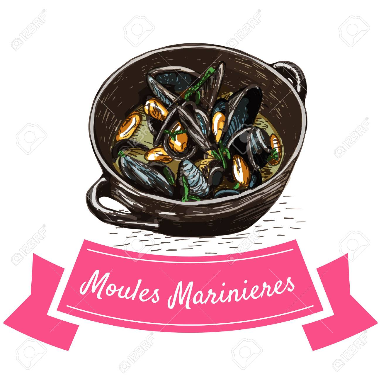 Moules Marinieres Colorful Illustration Vector Illustration
