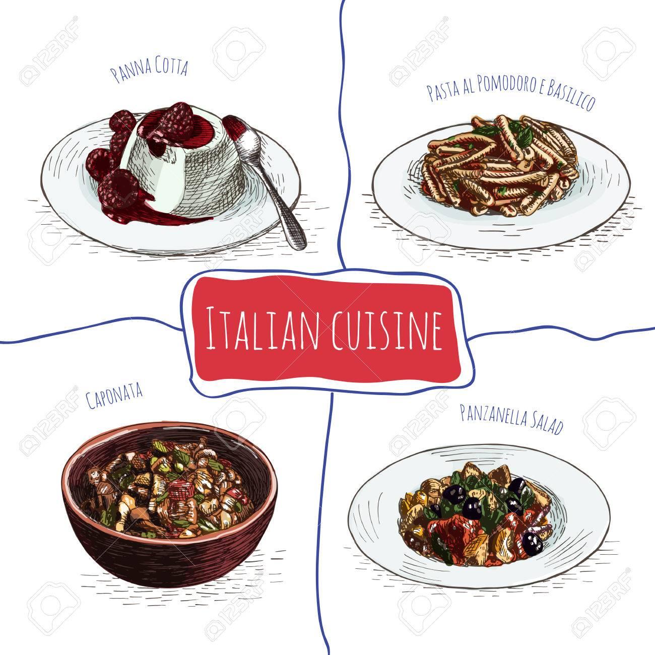 イタリアン メニューのカラフルなイラストイタリア料理のベクター