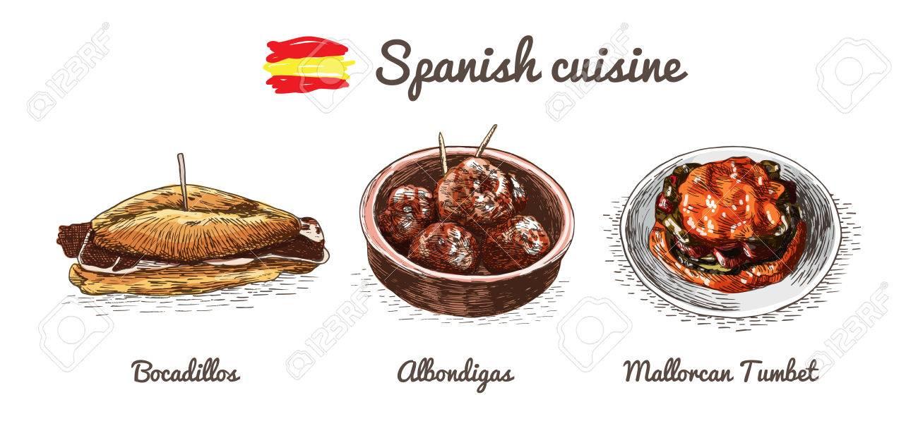 Spanisch-Menü Bunte Illustration. Vektor-Illustration Der Spanischen ...