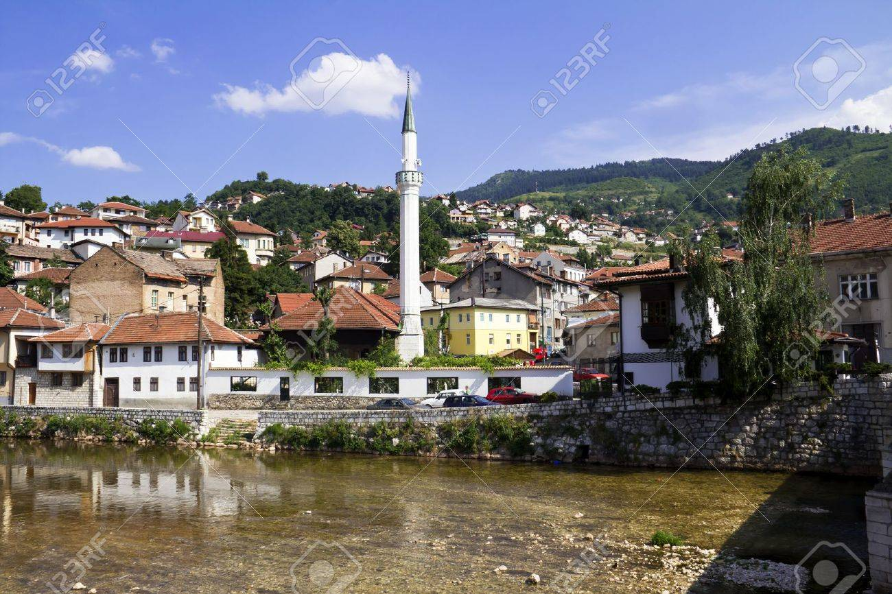 Bridge on Miljacka river in Sarajevo the capital city of Bosnia and Herzegovina Stock Photo - 15046108