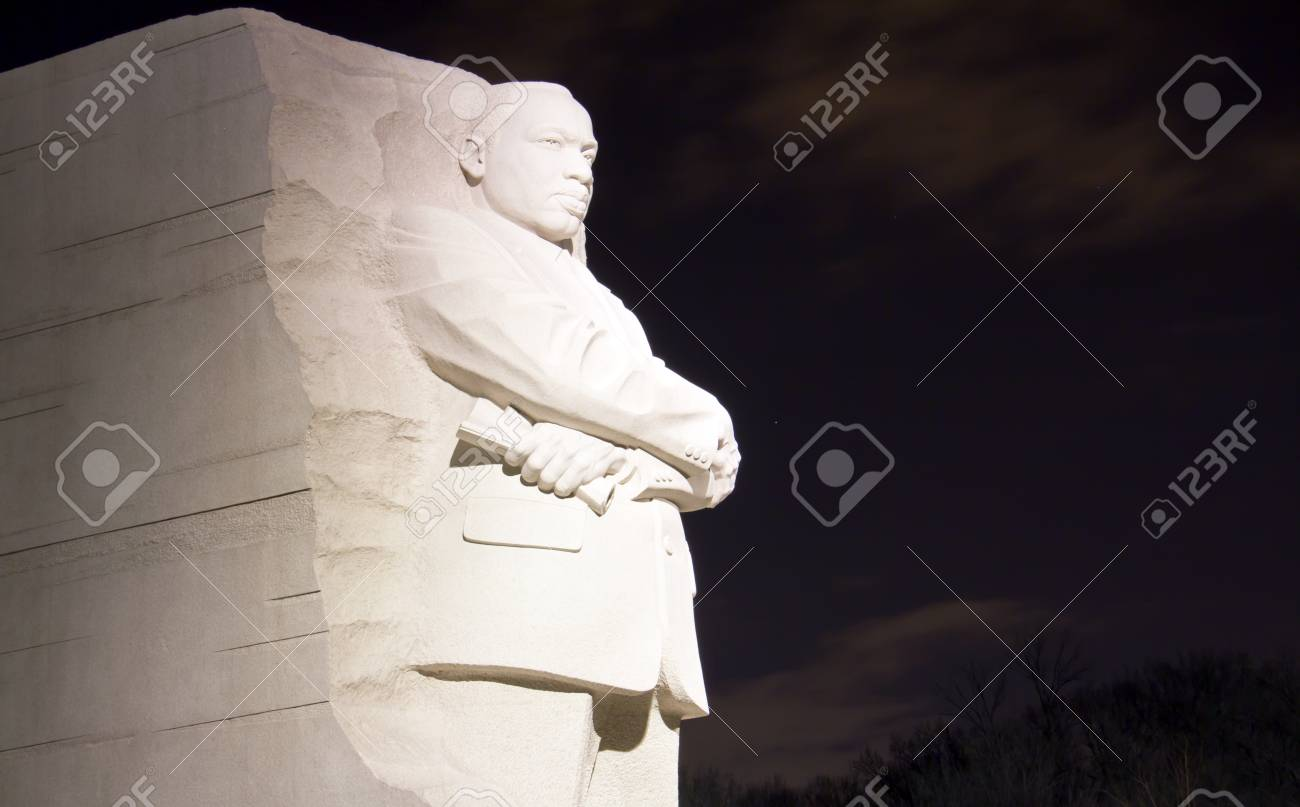 Martin Luther King Jr Monument In Washington Dc At Night Stock