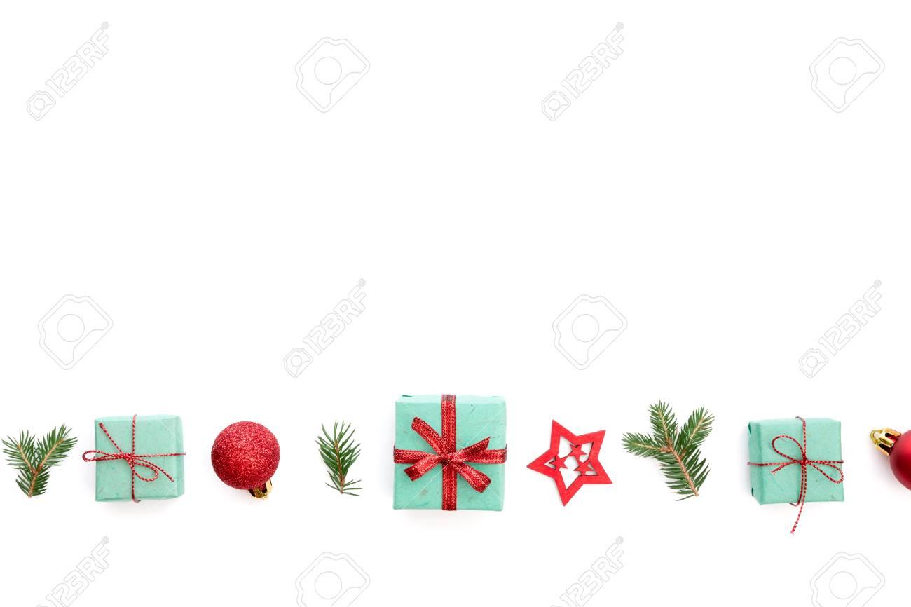 Christmas Border With Christmas Ornaments Small Christmas Presents