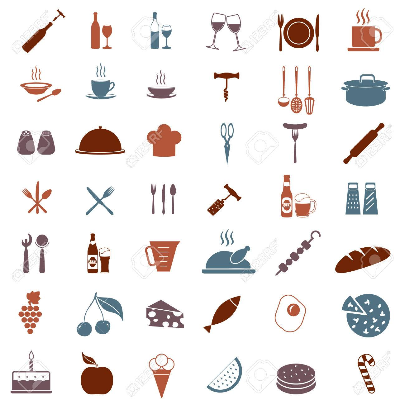 Kitchen Tools Or Equipment Icon Set. Food, Drink And Cooking ...