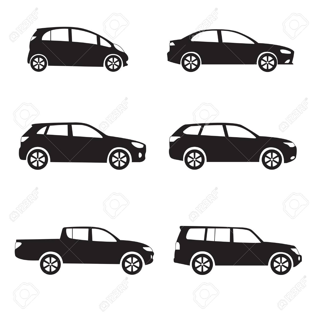 Cars Icon Set Different Vector Car Forms Royalty Free Cliparts
