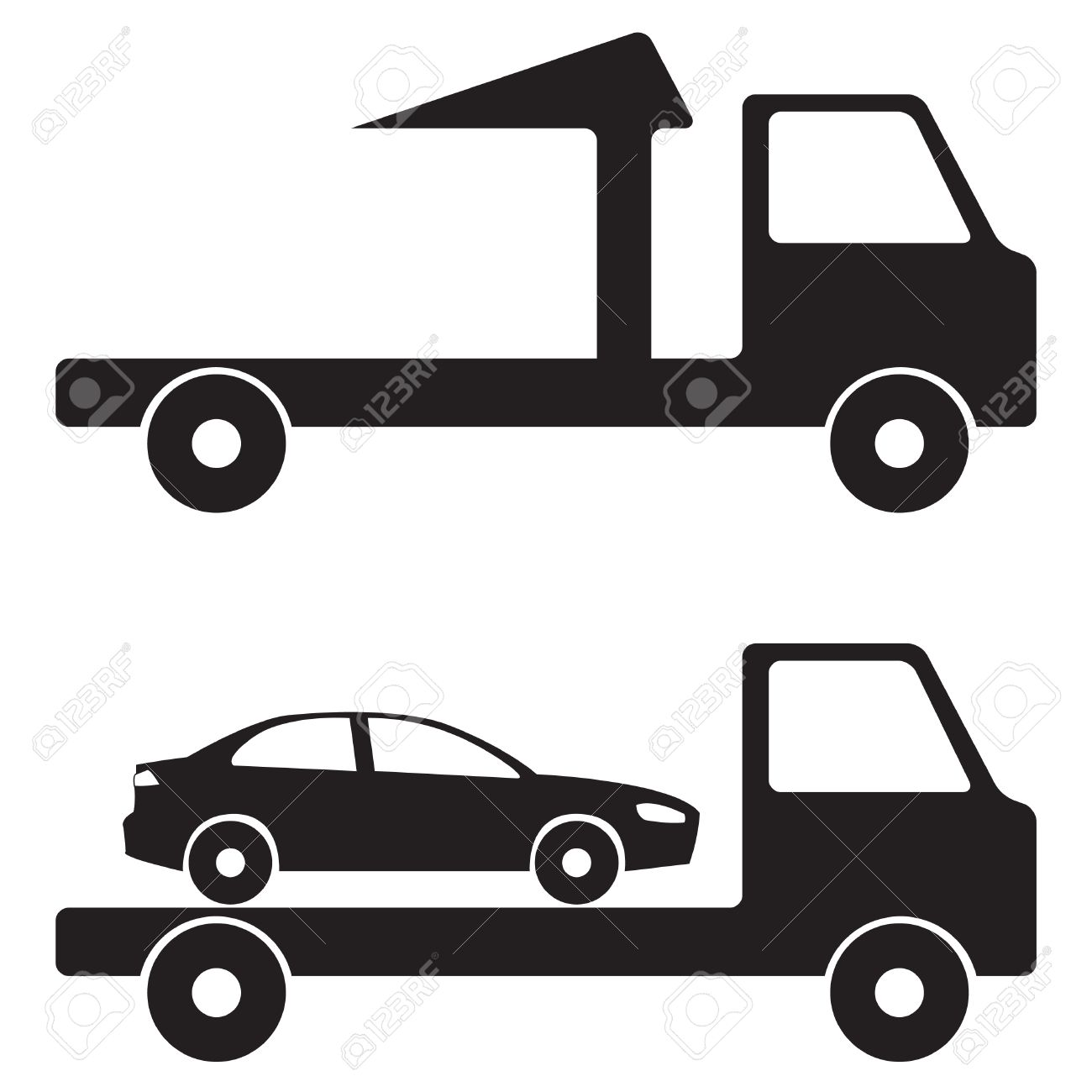 tow truck wrecker illustration icon or sign vector black on rh 123rf com tow truck vector clipart cartoon tow truck vector