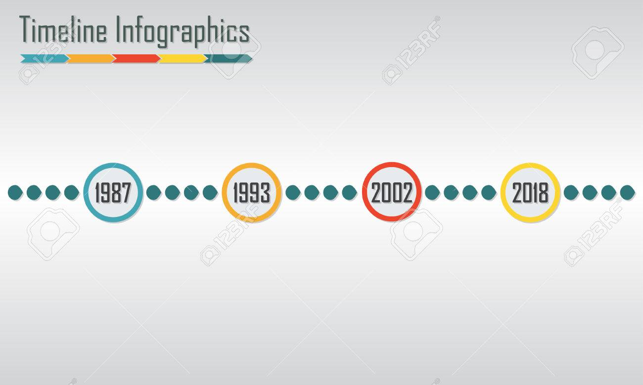 timeline infographics template horizontal design elements colorful