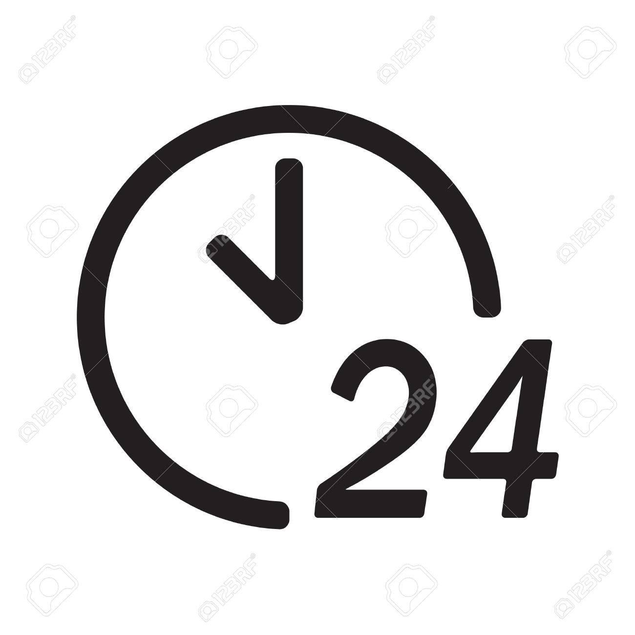 24 Stunden Am Tag Symbol Oder Zeichen Isoliert Auf Weißem ...