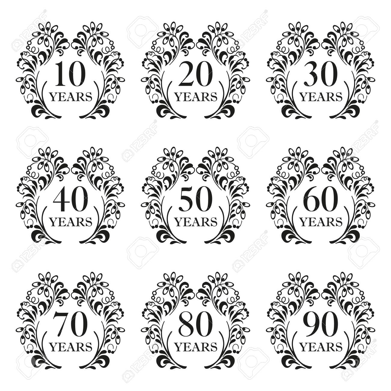 Anniversary Icon Set. Anniversary Symbols In Ornate Frame With ...