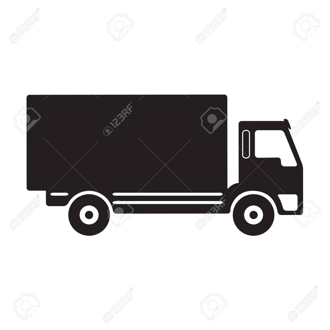 truck icon or sign vector black on white truck silhouette royalty