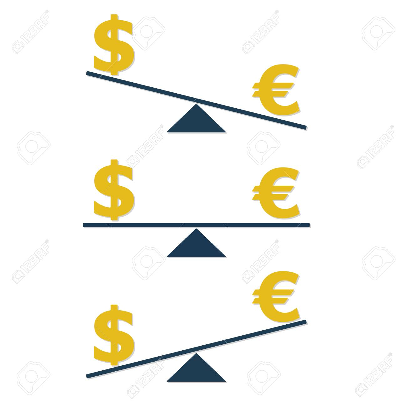 Dollar And Euro On Scales Currency Symbols And Money Infographics