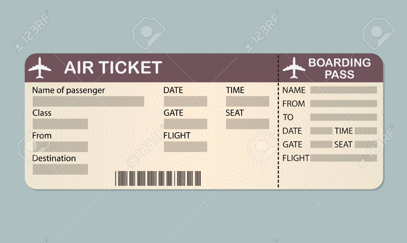 Captivating Airline Boarding Pass Ticket Template. Stock Vector   87128981 Pertaining To Plane Ticket Template