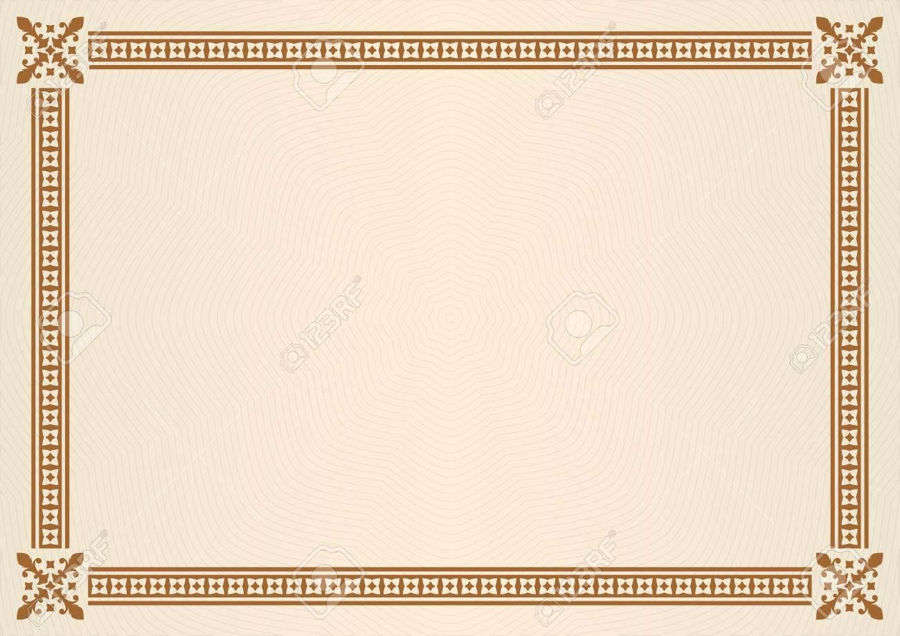 Borde O Marco Ornamental. Certificado, Diploma O Plantilla De ...