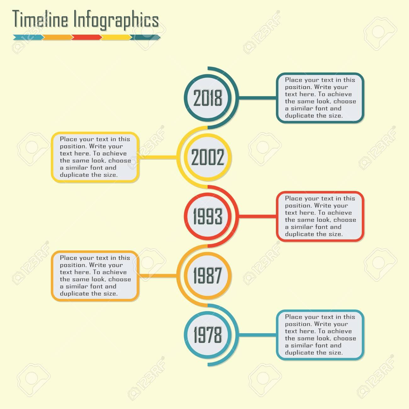 timeline infographics template vertical design elements colorful