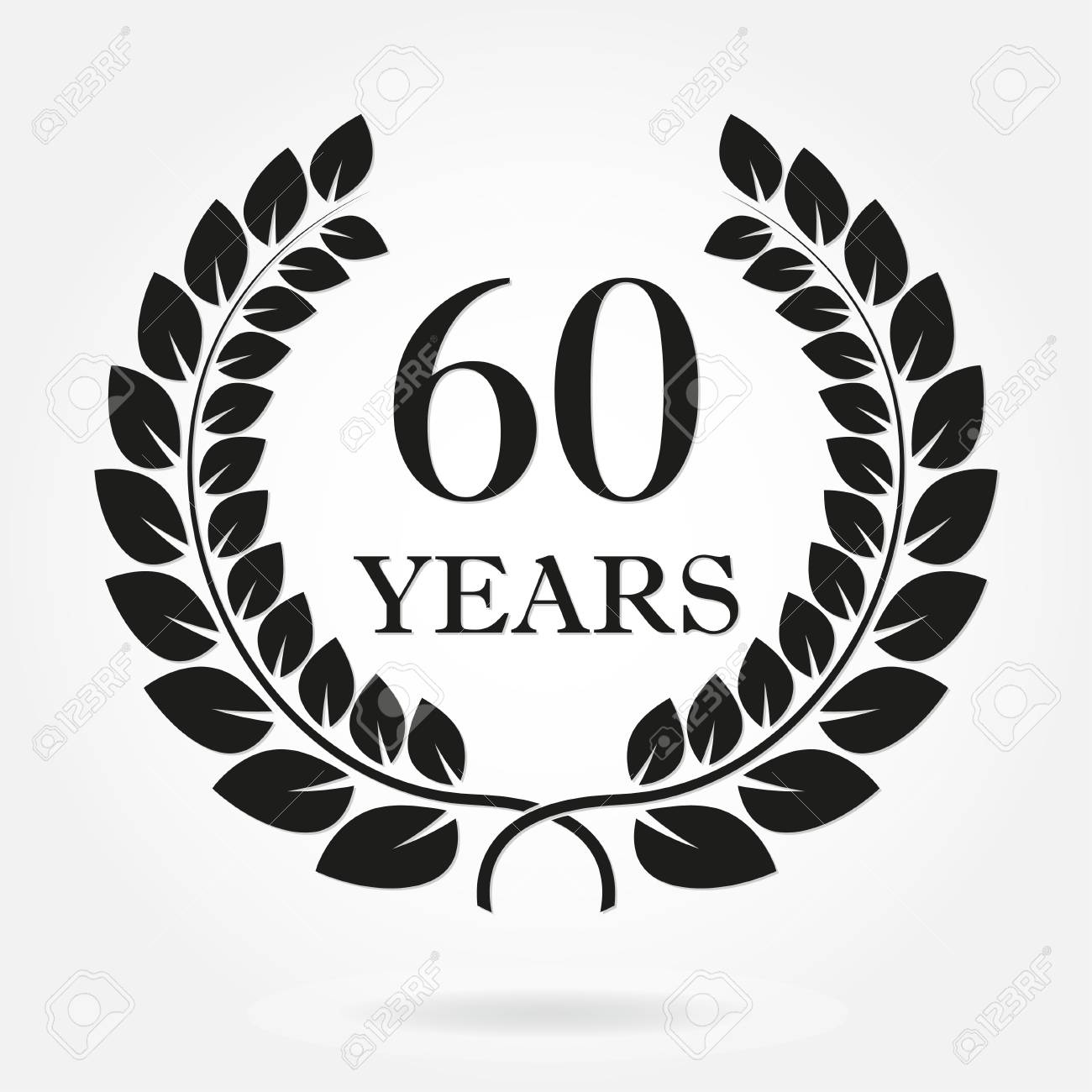 60 Years Anniversary Laurel Wreath Sign Or Emblem Template For