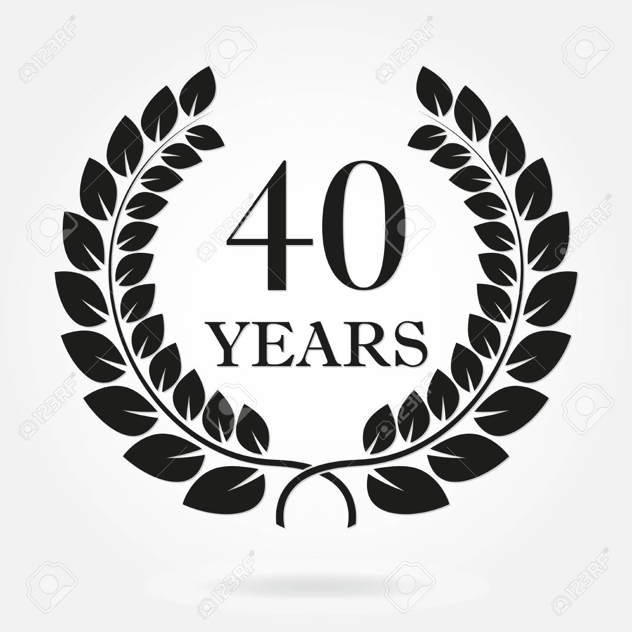 40 years anniversary laurel wreath sign or emblem template for