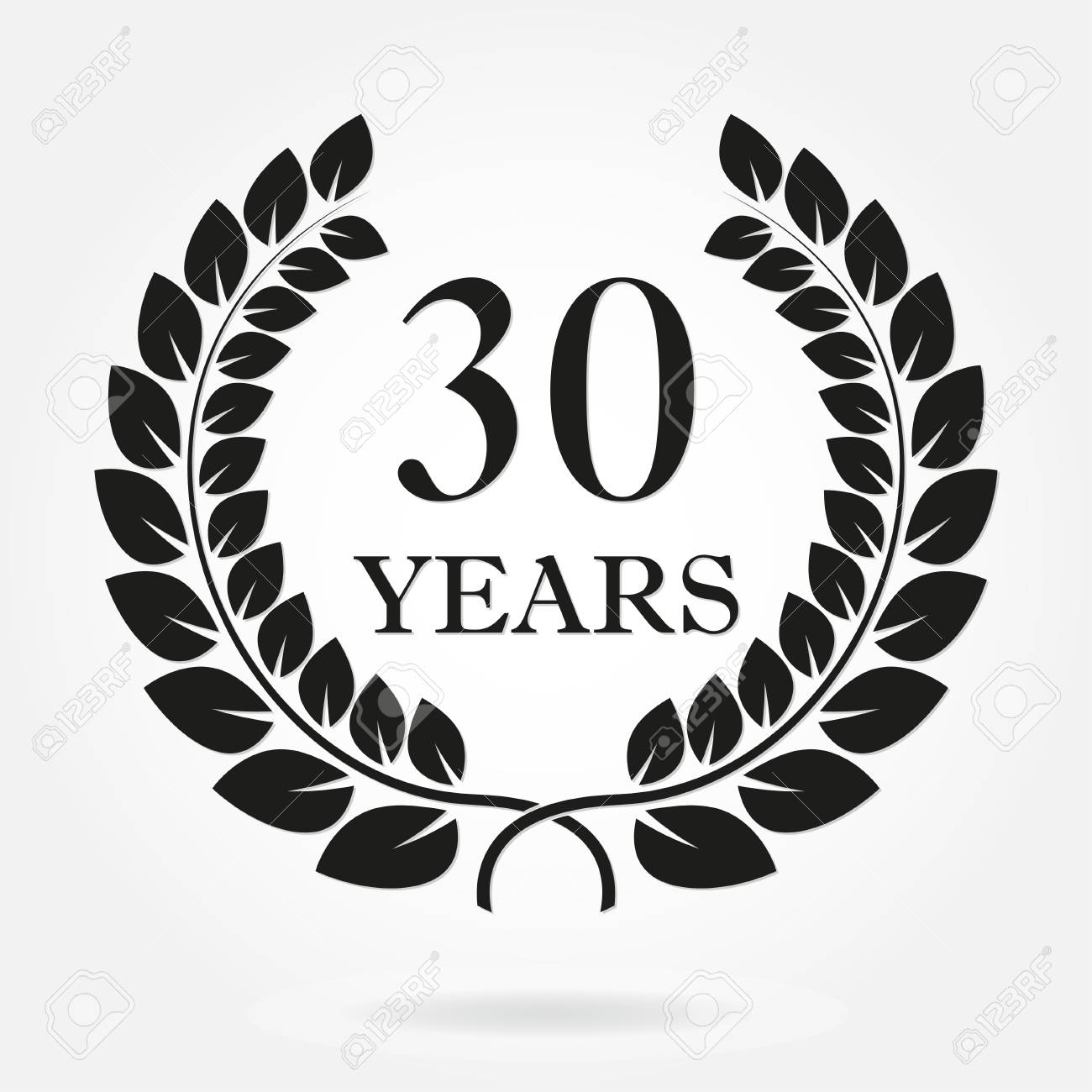 30 years anniversary laurel wreath sign or emblem template for