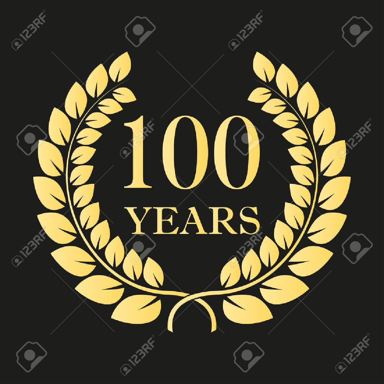 100 years anniversary laurel wreath icon or sign. Template for celebration and congratulation design. 100th anniversary golden label. Vector illustration. - 94044450