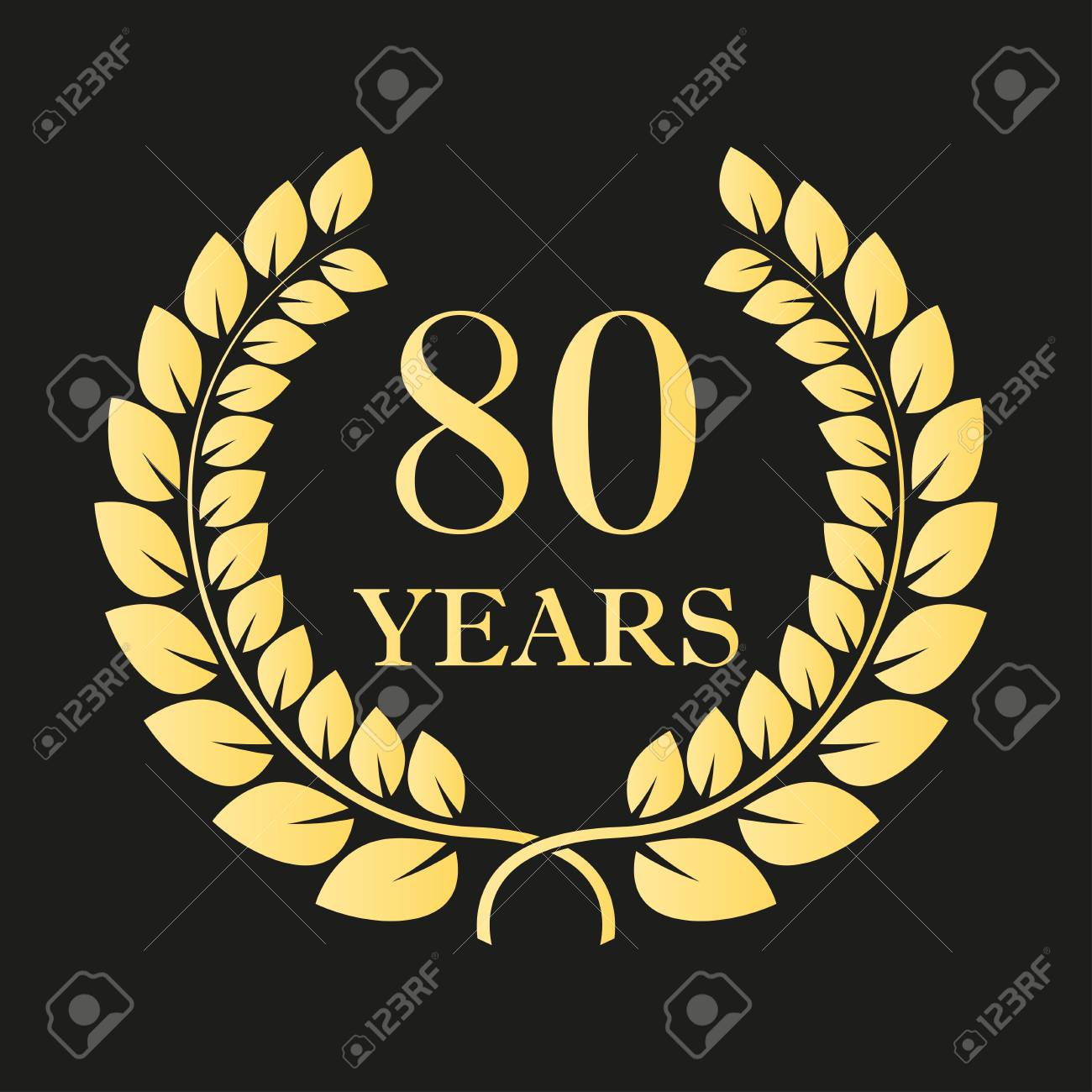 Years Anniversary Laurel Wreath Sign Or Emblem Template For - 80 label template