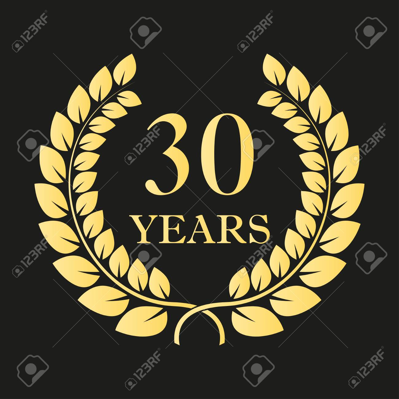 30 years anniversary laurel wreath icon or sign template for