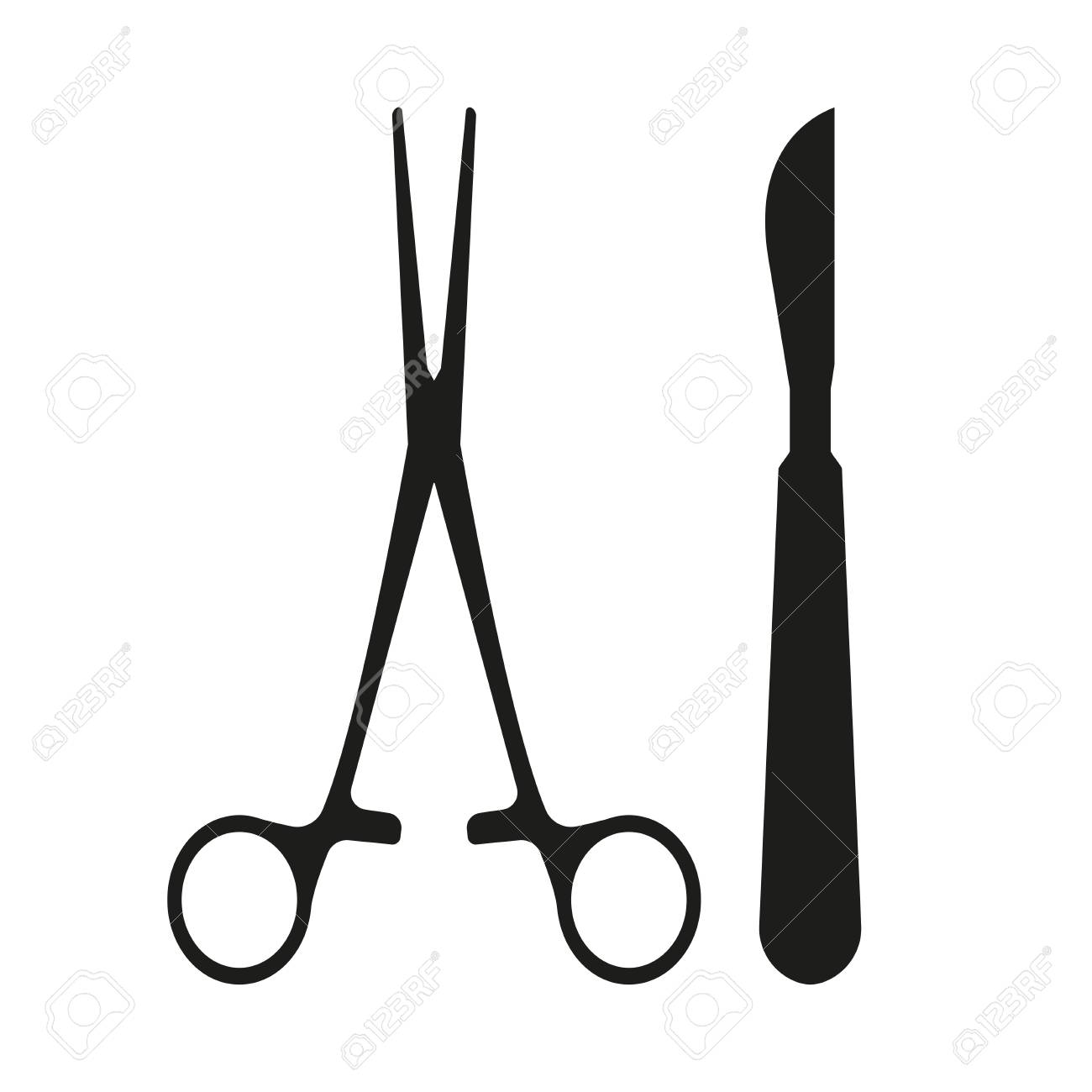 Surgical Instrument. Medical scalpel and clamp icon isolated on white background. Vector illustration. - 94043268