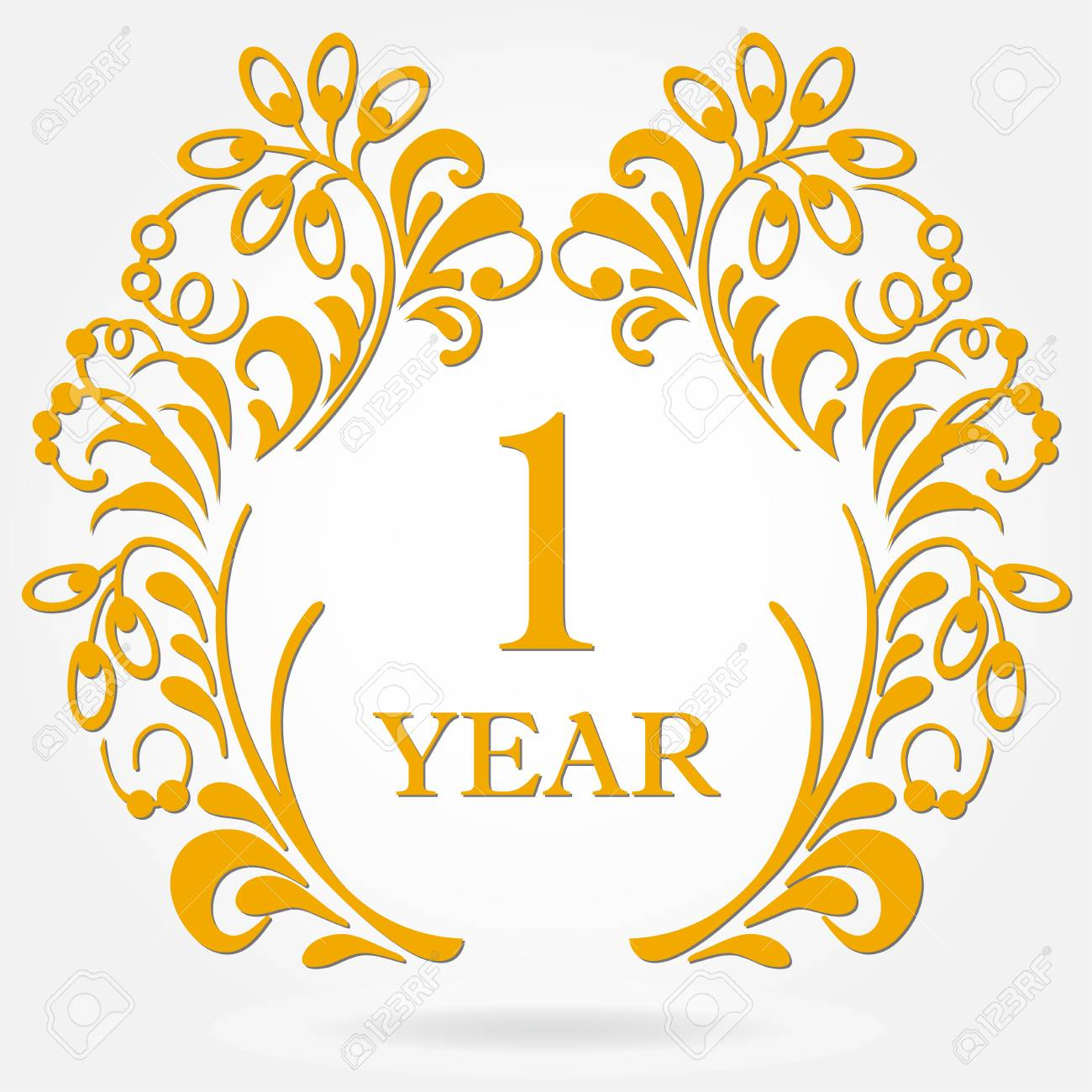 1 Year Anniversary Icon In Ornate Frame With Floral Elements