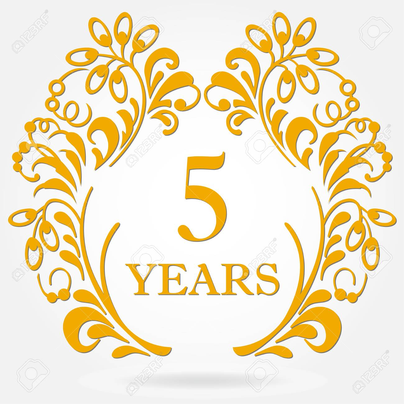 5 Years Anniversary Icon In Ornate Frame With Floral Elements... Royalty  Free Cliparts, Vectors, And Stock Illustration. Image 96758122.