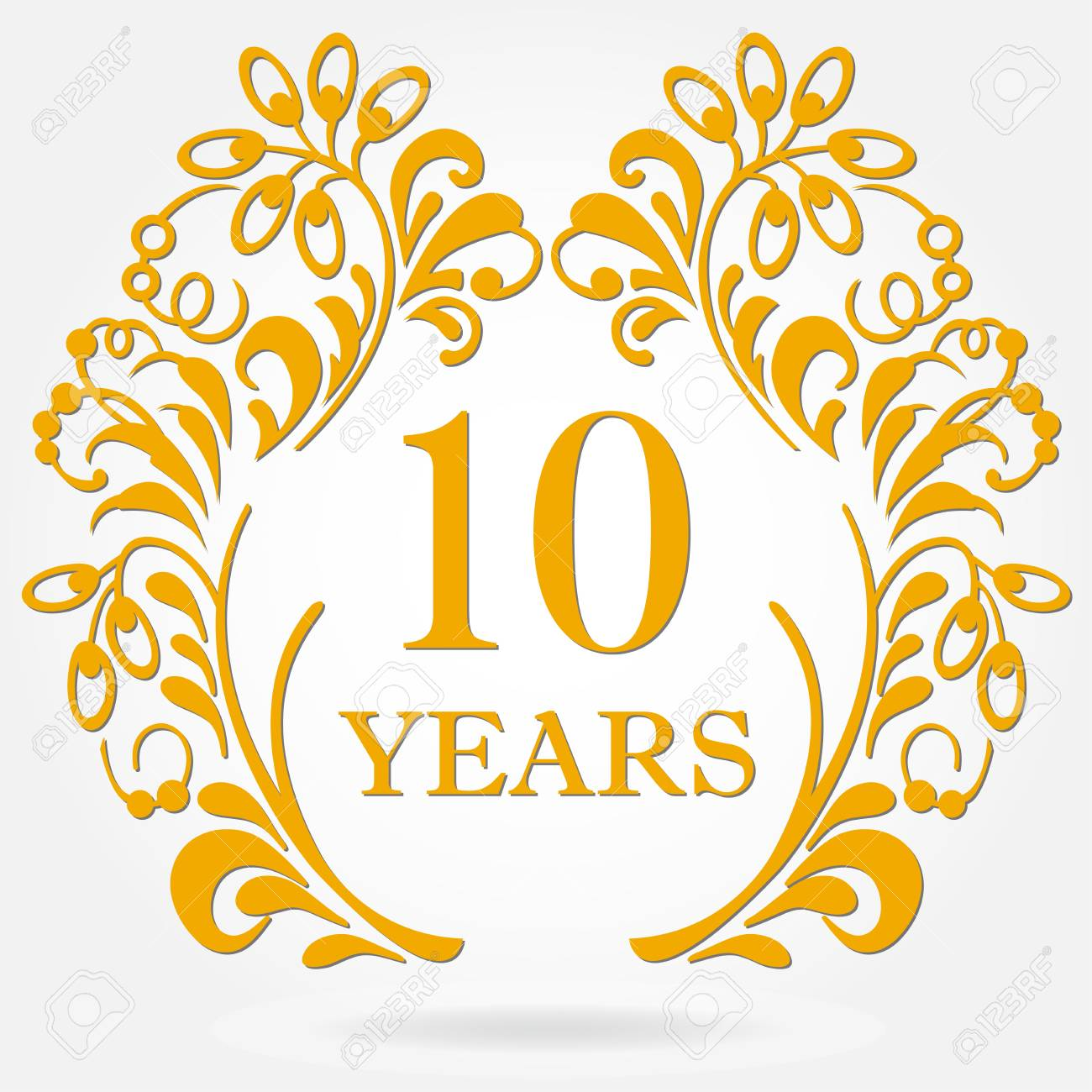 10 Years Anniversary Icon In Ornate Frame With Floral Elements Royalty Free Cliparts Vectors And Stock Illustration Image 96758203